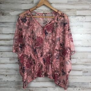 Free People pink floral lace top